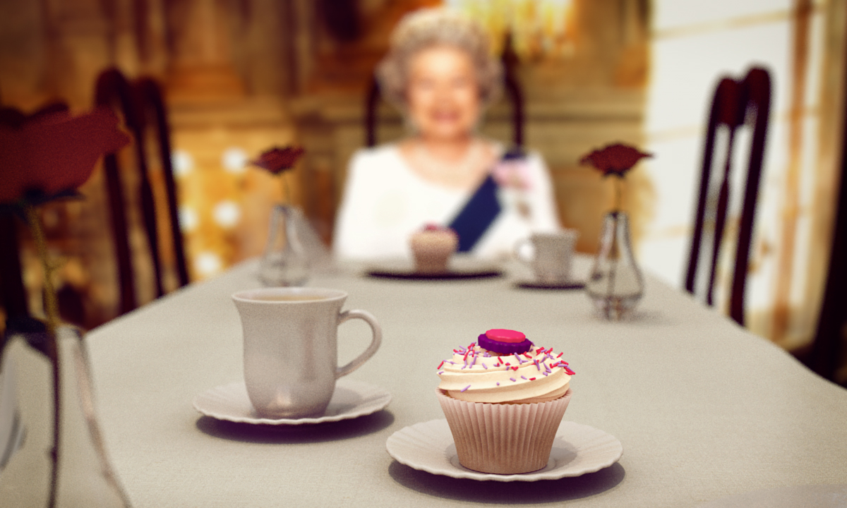 The Queen Enjoying a Vanilla cupcake from Lick that Bowl